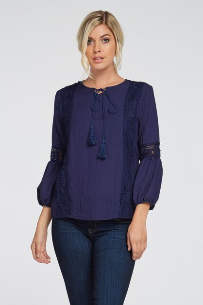 EMBROIDERED SELF-TIE TOP - orangeshine.com