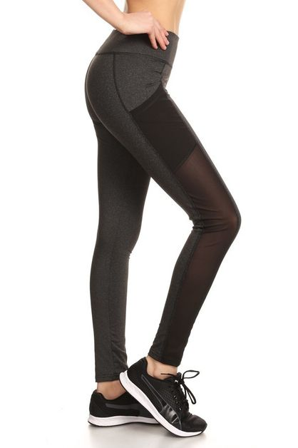 Color Block Mesh Leggings Sport - orangeshine.com