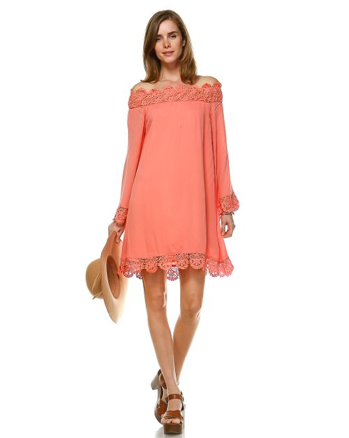 PEASANT DRESS WITH CROCHET TRIM - orangeshine.com