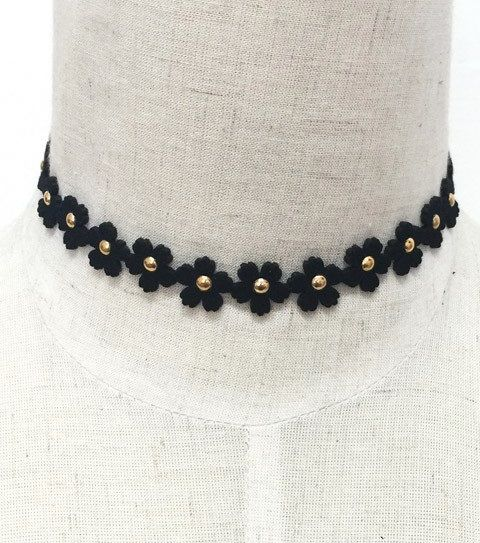 Black Flower Choker - orangeshine.com