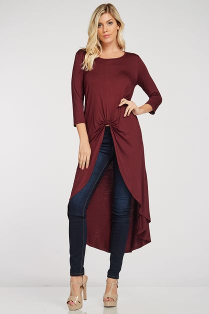KNIT HI LOW TUNIC SOLID TOP  - orangeshine.com