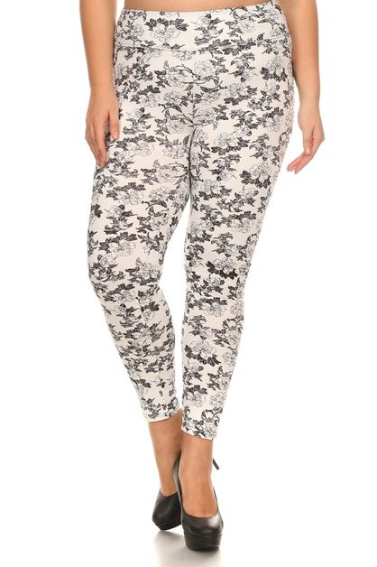 Plus Size Leggings Floral Print - orangeshine.com