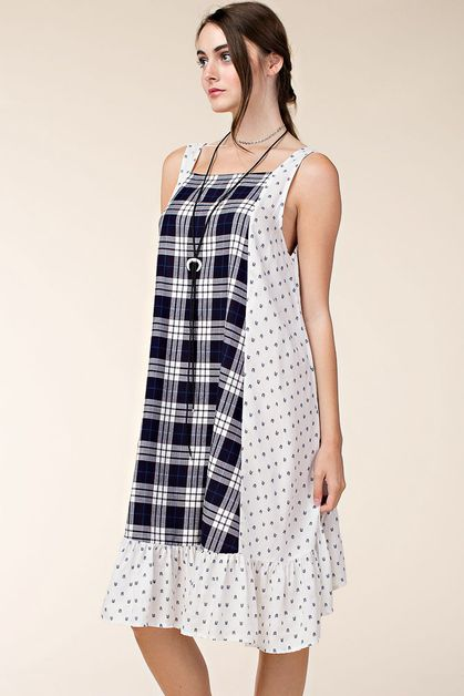 PLAID MIX PRINT DRESS - orangeshine.com