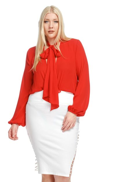 TIE-NECK BLOUSE PLUS BODYSUIT - orangeshine.com