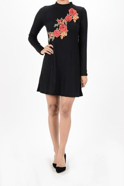 EMBRODERY FLOWER PATCH MINI DRESS - orangeshine.com