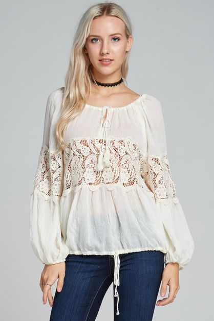 Peasant lace top - orangeshine.com