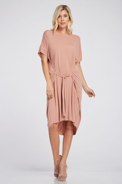 CUPRO KNIT DRESS WITH FRONT TIE - orangeshine.com