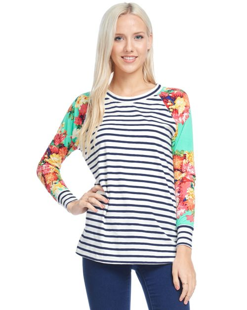Stripe raglan sleeve top with floral - orangeshine.com
