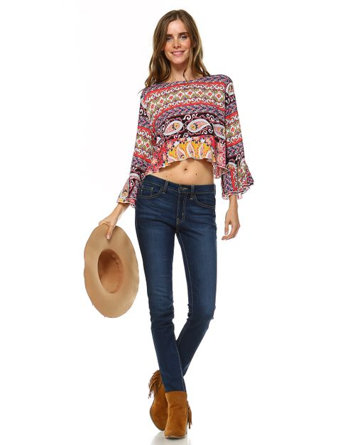 PRINTED CROPPED BOHO CHIC TOP - orangeshine.com