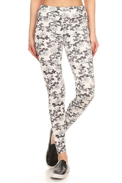 High Waist Skinny Fit Floral Legging - orangeshine.com