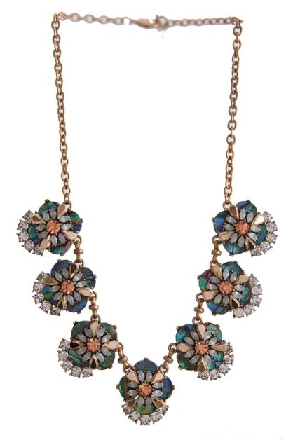 CLUSTER JEWELED NECKLACE SET - orangeshine.com