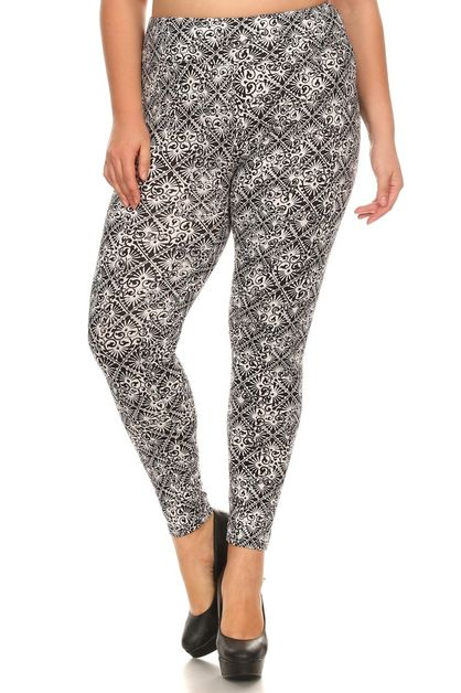 Plus Size Leggings Tribal Print - orangeshine.com