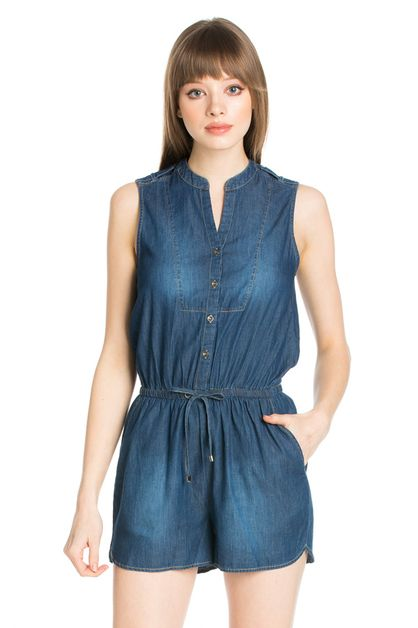 SLEEVELESS DENIM ROMPER - orangeshine.com