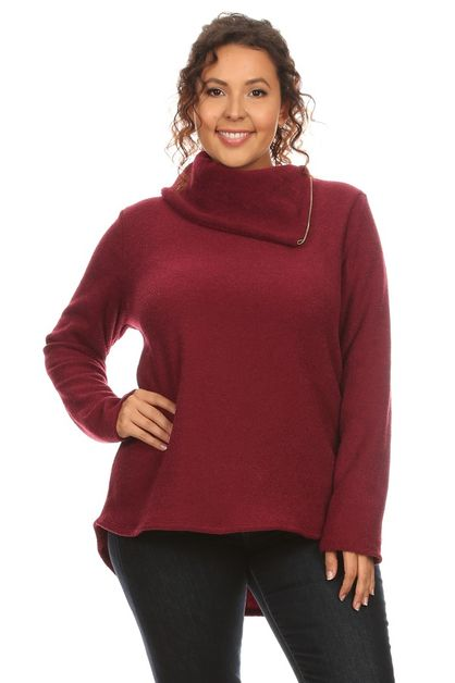 Fold Over High Neck Sweater - orangeshine.com