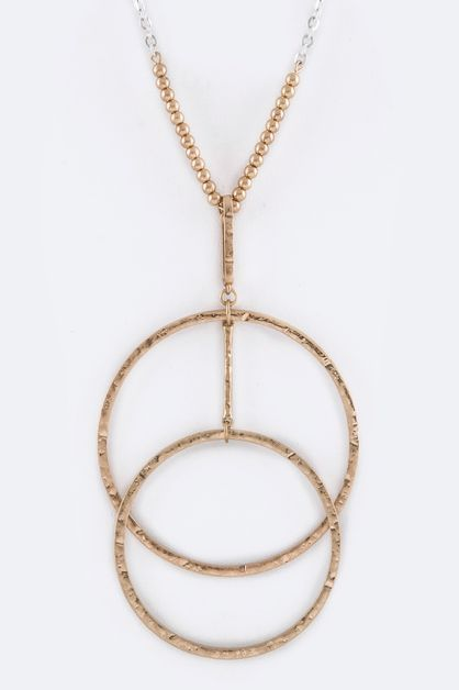 Double Hoops Pendant Necklace - orangeshine.com