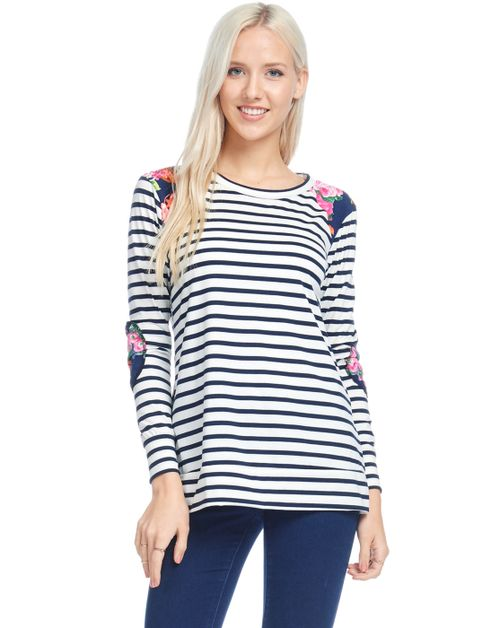 Striped tunic with floral detail - orangeshine.com