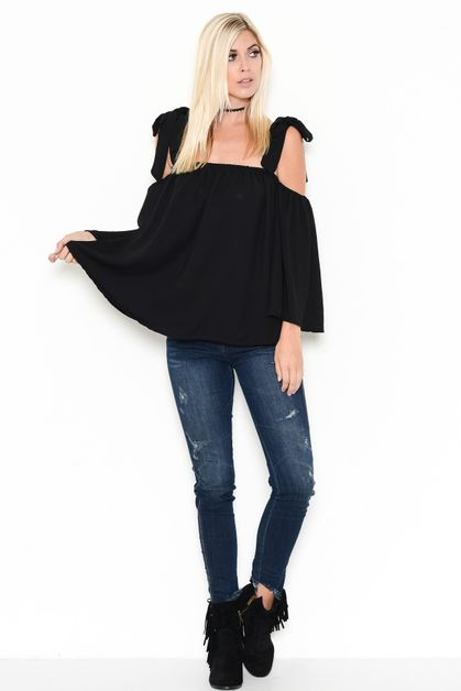 RUFFLED OPEN SHOULDER TUNIC TOP - orangeshine.com