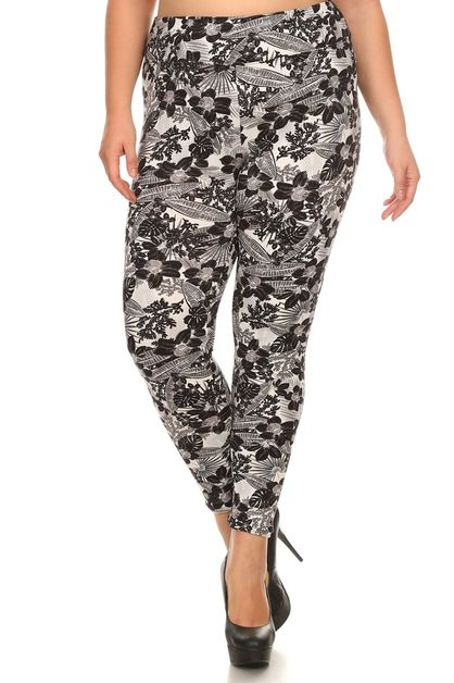 Floral Print Plus Size Leggings - orangeshine.com