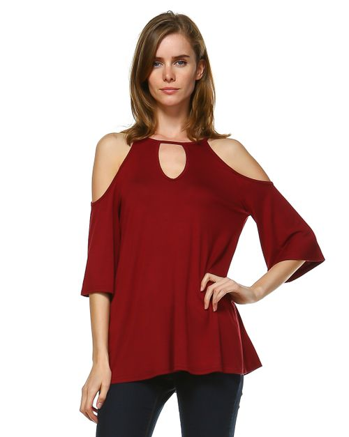 OPEN SHOULDER SOLID BLOUSE - orangeshine.com