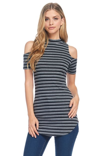 STRIPE PRINT RIBBED CAP SLEEVE TOP - orangeshine.com
