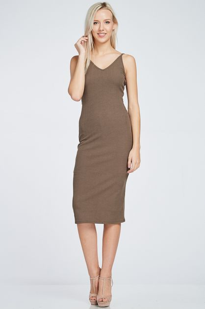 RIB KNIT TANK DRESS - orangeshine.com