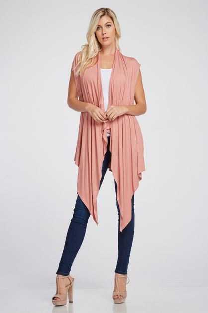 Un Even Knit Hem Cardigan Vest - orangeshine.com