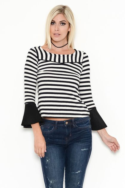 STRIPED BELL SLEEVE TOP - orangeshine.com