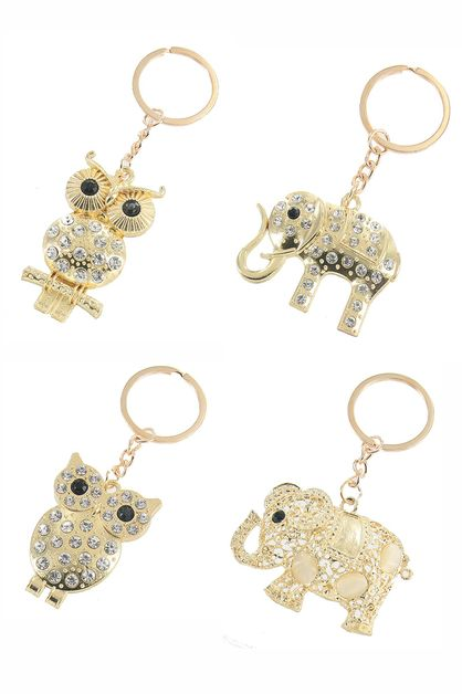 Owl and Elephant Key Ring - orangeshine.com