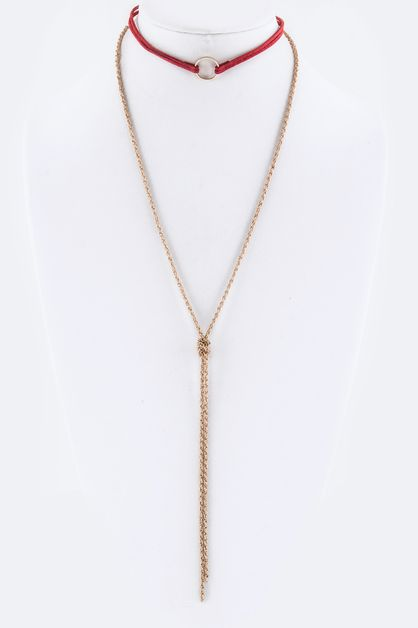 Metal Hoop and Knotted Chain Choker - orangeshine.com