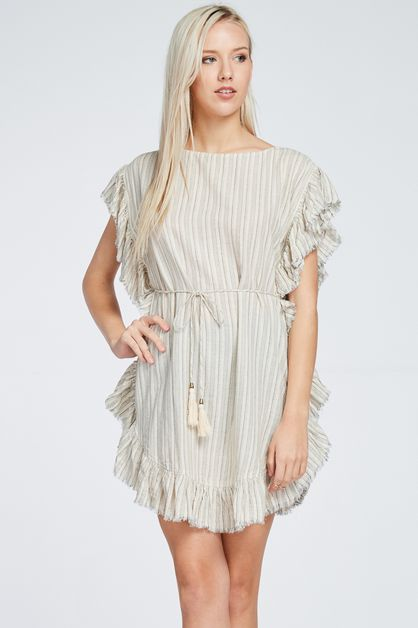 WOVEN FRAYED DRESS W FRONT TIE - orangeshine.com