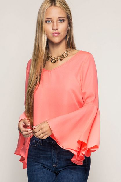 SL1350 BELL SLEEVE CROP TOP - orangeshine.com