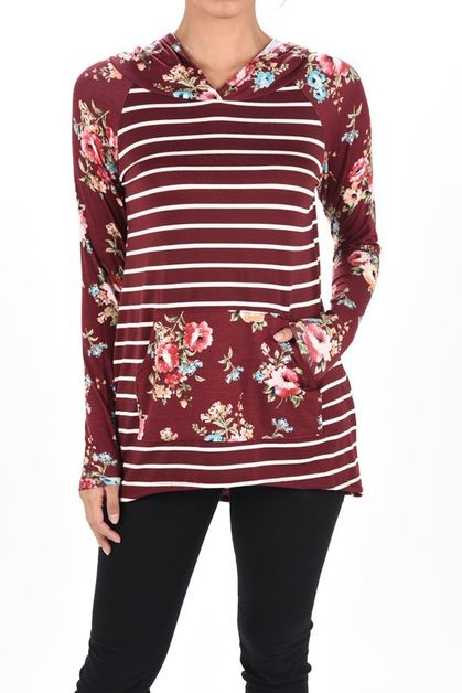 LONG SLEEVE STRIPE FLORAL MIX HOODIE - orangeshine.com