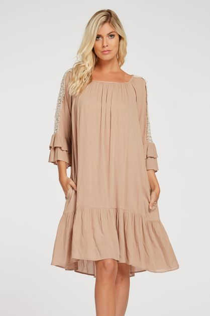 DOUBLE BELL SLEEVE RUFFLE HEM DRESS - orangeshine.com