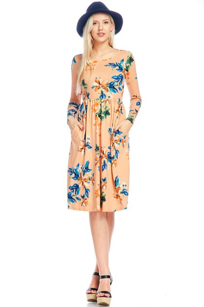 floral fit and flared pocket dress - orangeshine.com