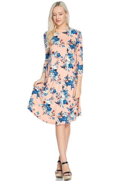 3/4 sleeve mock neck floral dress - orangeshine.com