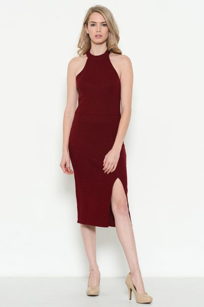 High Neck Sleeveless Dress - orangeshine.com