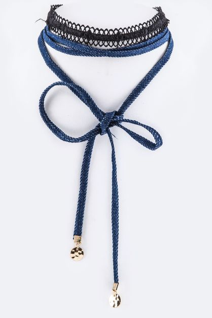 Wrapped Denim Choker Set - orangeshine.com
