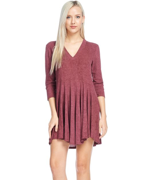 Sleeve Washed Rib Flare Bottom Tunic - orangeshine.com