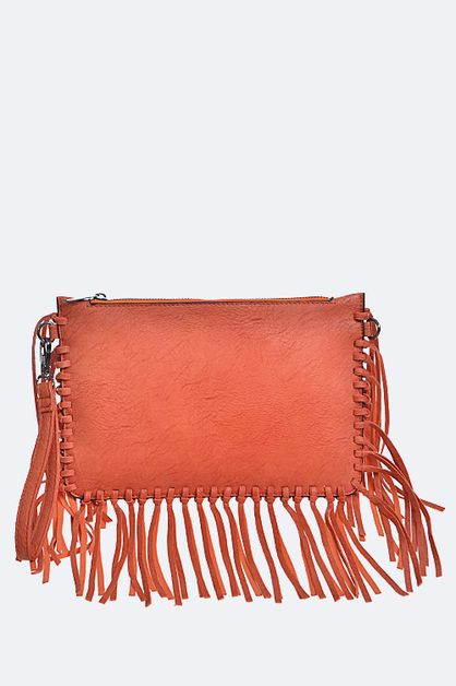 Fringe Leather Clutch - orangeshine.com