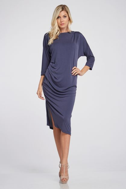 Knit Cupro Pleated Dress - orangeshine.com