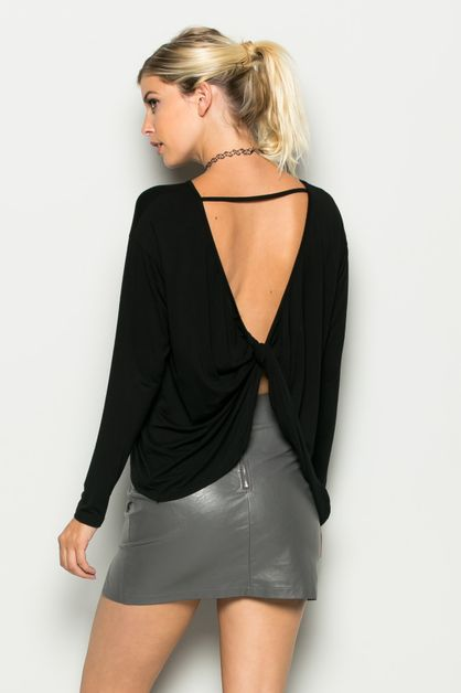 OPEN BACK LONG SLEEVE T-SHIRT - orangeshine.com