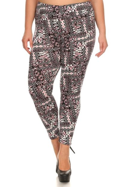 Plus Size Leggings Aztec Tribal  - orangeshine.com