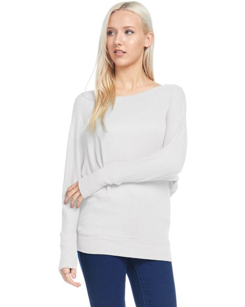 Dolman Sleeve Rib Thermal Crewneck - orangeshine.com