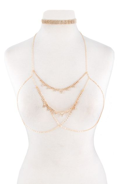 Rhinestoned metal choker and bra set - orangeshine.com