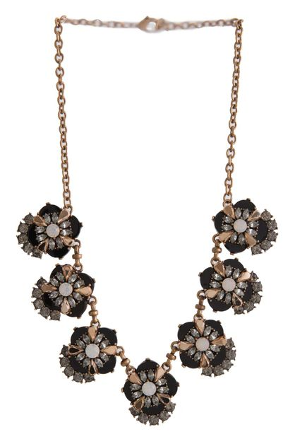 CLUSTER JEWELED FLOWER NECKALCE - orangeshine.com