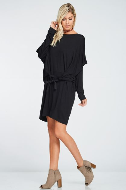 TIE FRONT COMFY DRESS - orangeshine.com