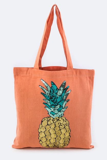 Sequins Pineapple Canvas Tote - orangeshine.com