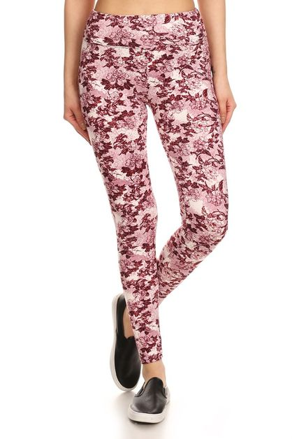 High Waist Skinny Floral Leggings - orangeshine.com