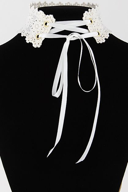 Girly Lace Corset Inspired Choker - orangeshine.com