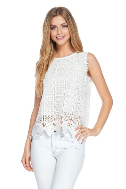 CROCHET LACE BACK BUTTON TOP - orangeshine.com